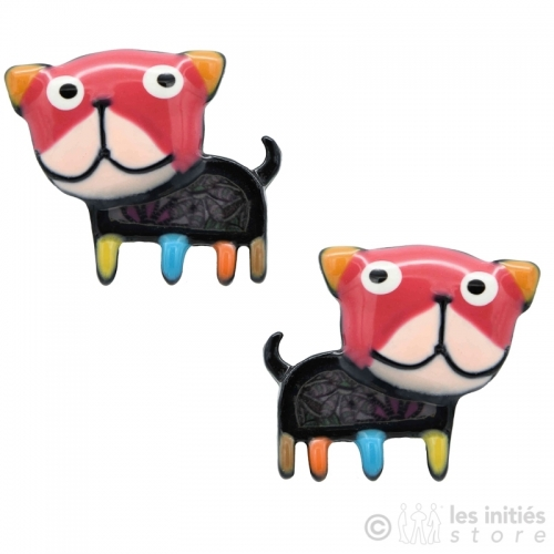 pink dogs earrings