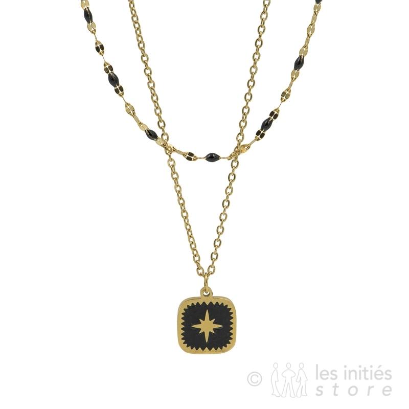 Collier Zag étoile dorée sur fond noir