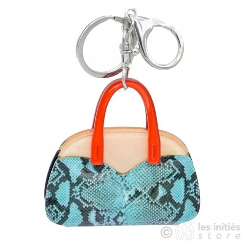 porte clés sac turquoise