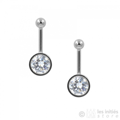 steel rod earrings with rhinestone