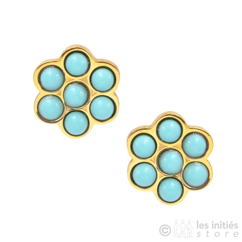 Boucles d'oreilles petites fleurs dorées