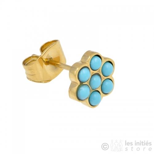 Boucles d'oreilles puces dorées et turquoises