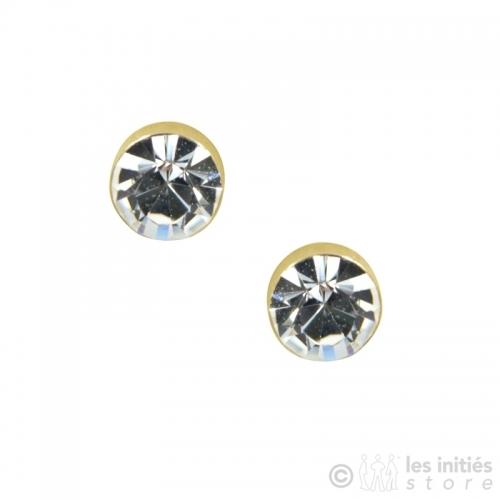 Boucles d'oreilles puces dorées diamant