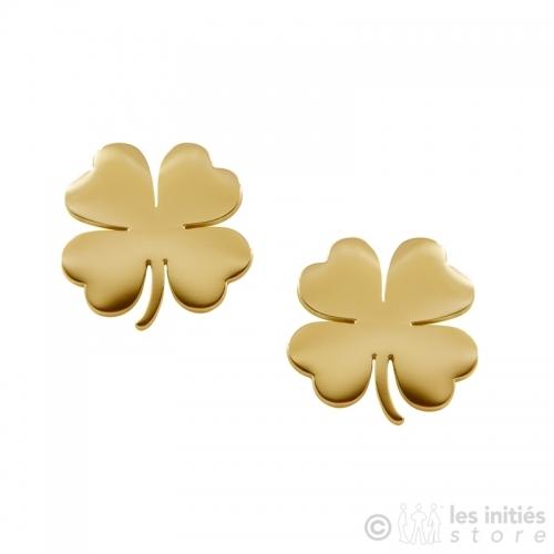 chiseled gold clover earrings