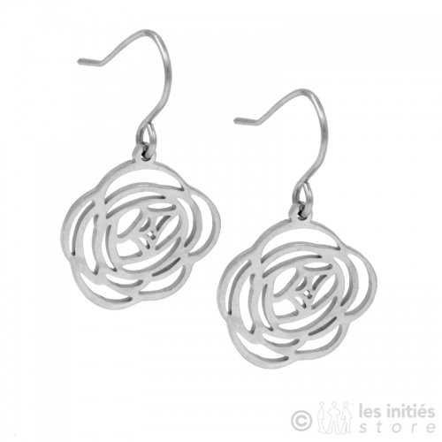 openwork rose earrings