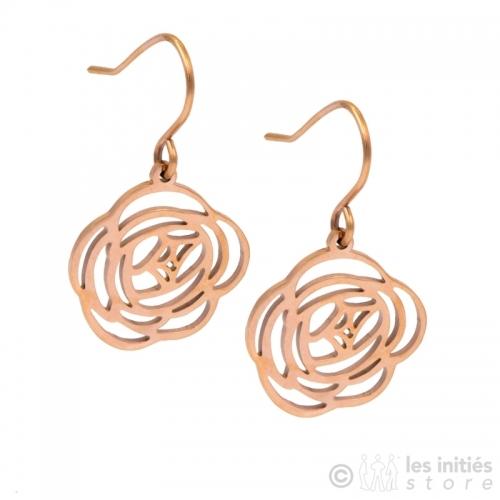 boucles d'oreilles fleurs rosées