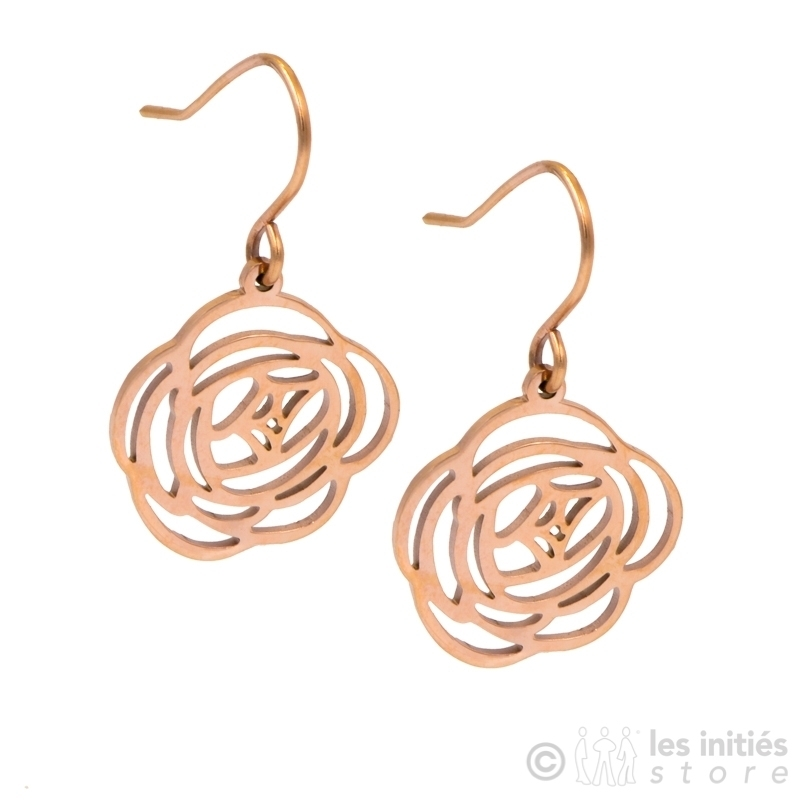 rose gold openwork flower earrings