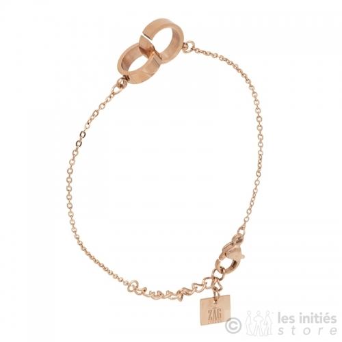 Bracelet menottes plates rosées