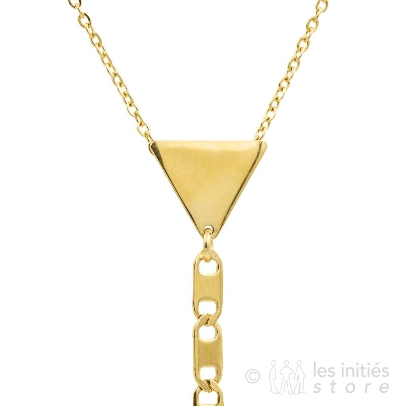 Sautoir triangle chaine plate