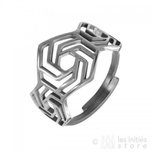 geometric ring silver