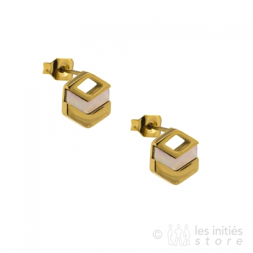 square earrings gold