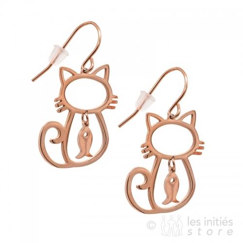 big cat earrings rose gold