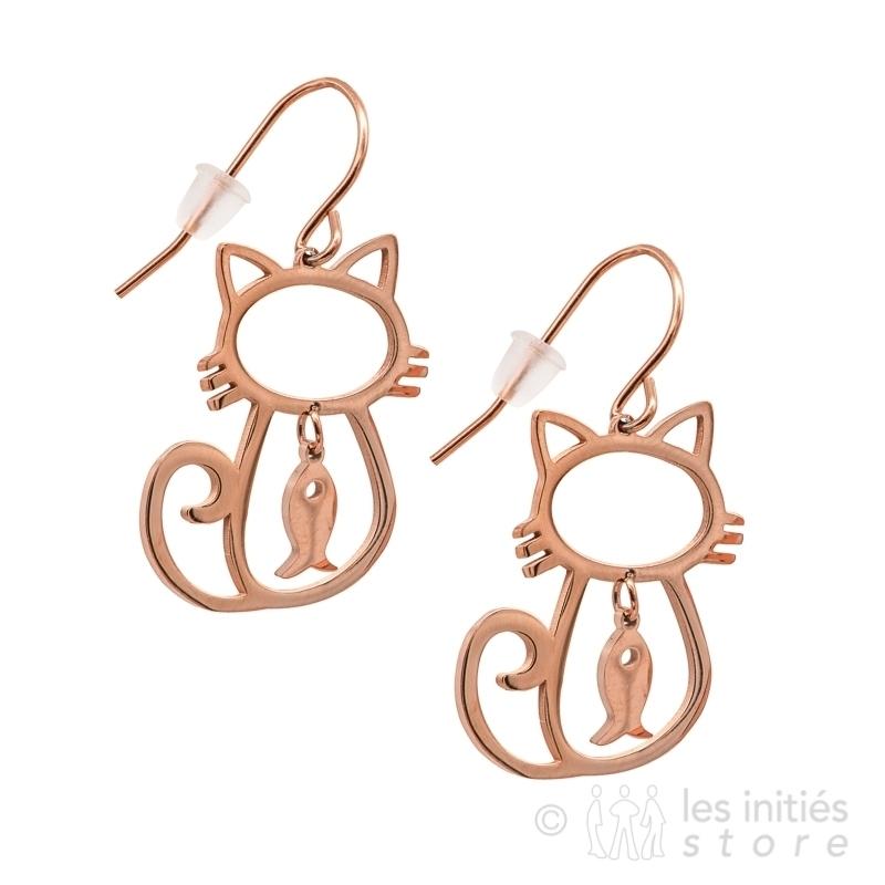 Boucles d'oreilles chats roses
