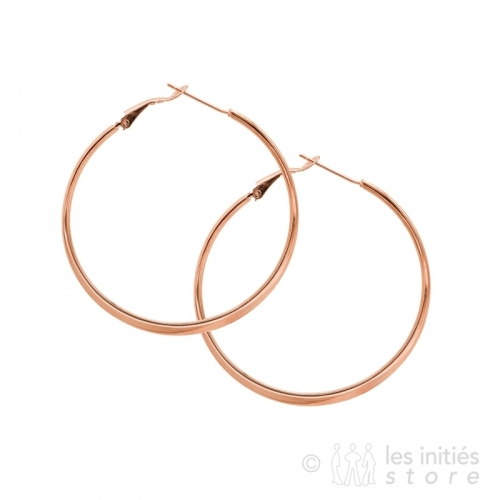 Creole gold rose Hoop Earrings 6 cm