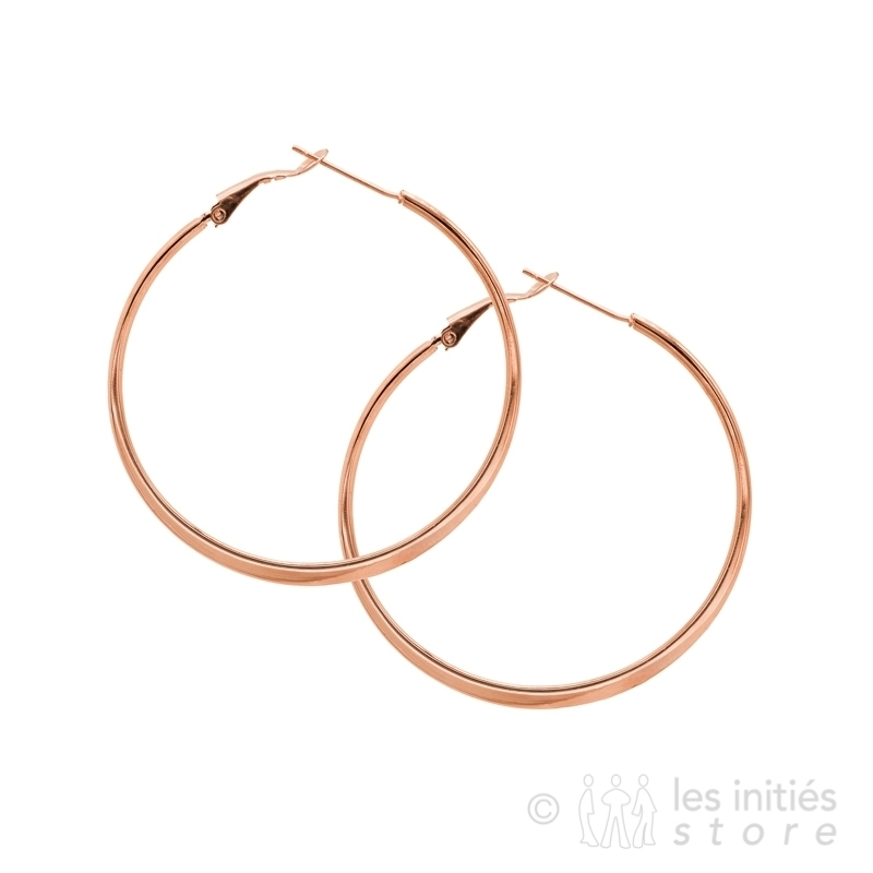Creole gold rose Hoop Earrings 6 cm