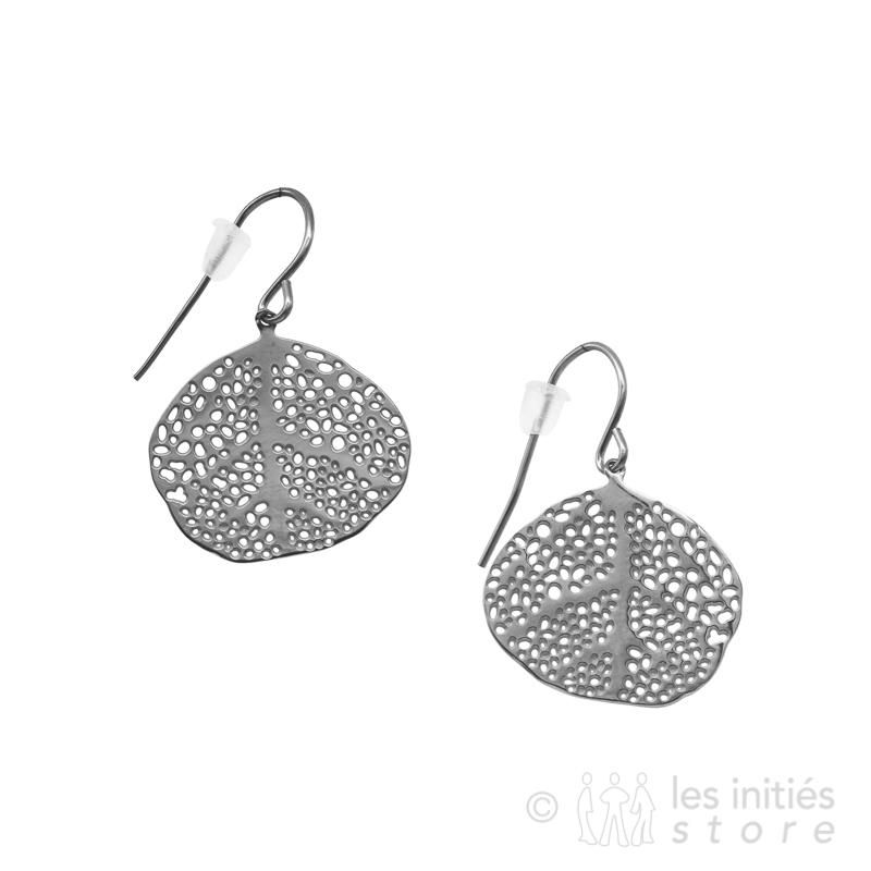 exotic leaf earrings silver