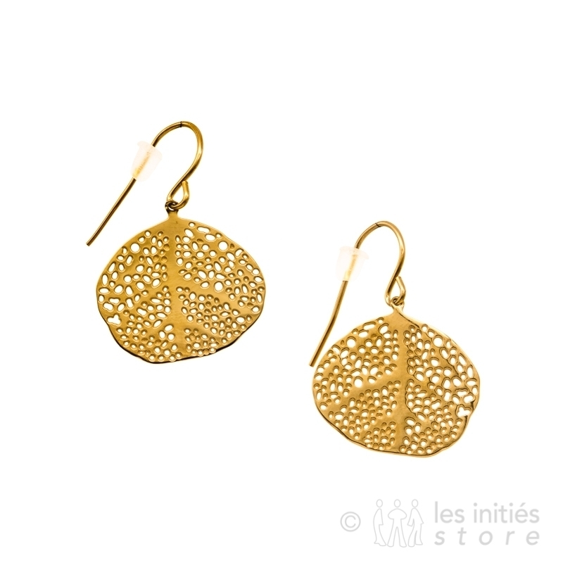 exotic leaf earrings gold