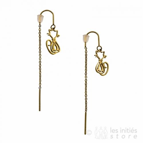 kitten pendant earrings gold
