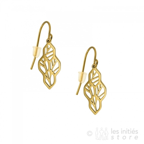 openwork leaves branch tree earrings
