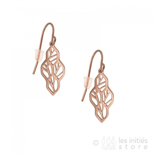 rose gold tree leaves earrings