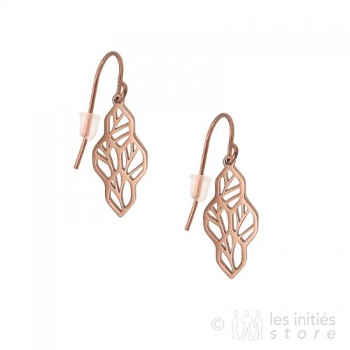 rose gold tree leaves earrings