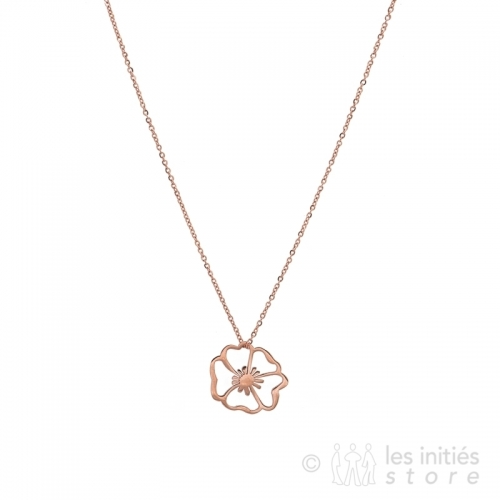 pink gold poppy necklace