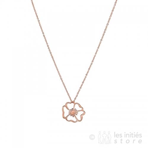 pink gold poppy necklace