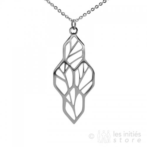 openwork leaves necklace steel