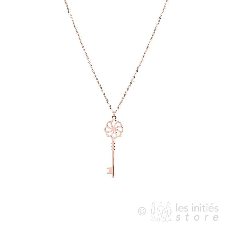 Collier clé décorative doré rosé