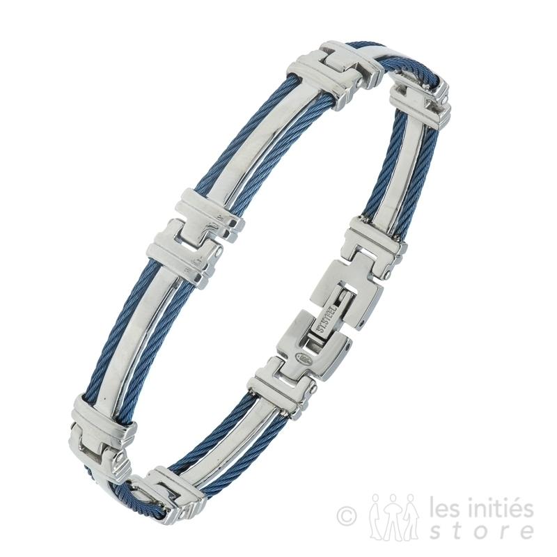 Bracelet homme bleu acier