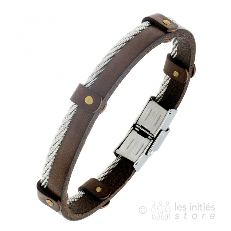 leather and steel jewelry mens