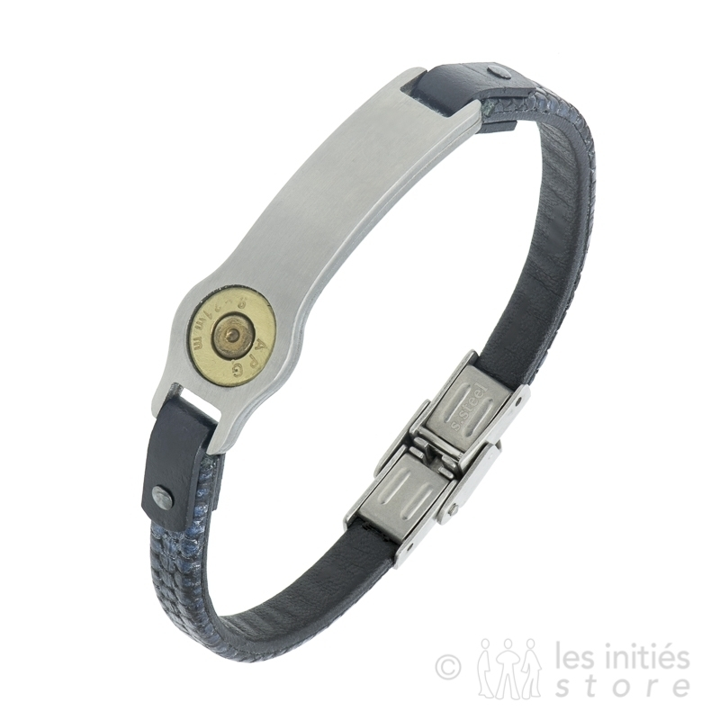 Bracelet Sniper cuir de luxe lézard bleu foncé