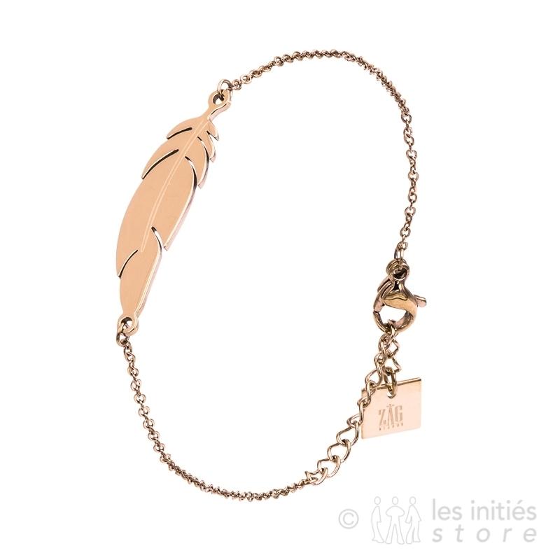 Bracelet plume rosé