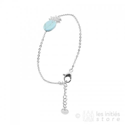 Idée cadeau pour femme - Bracelet ananas pierre turquoise
