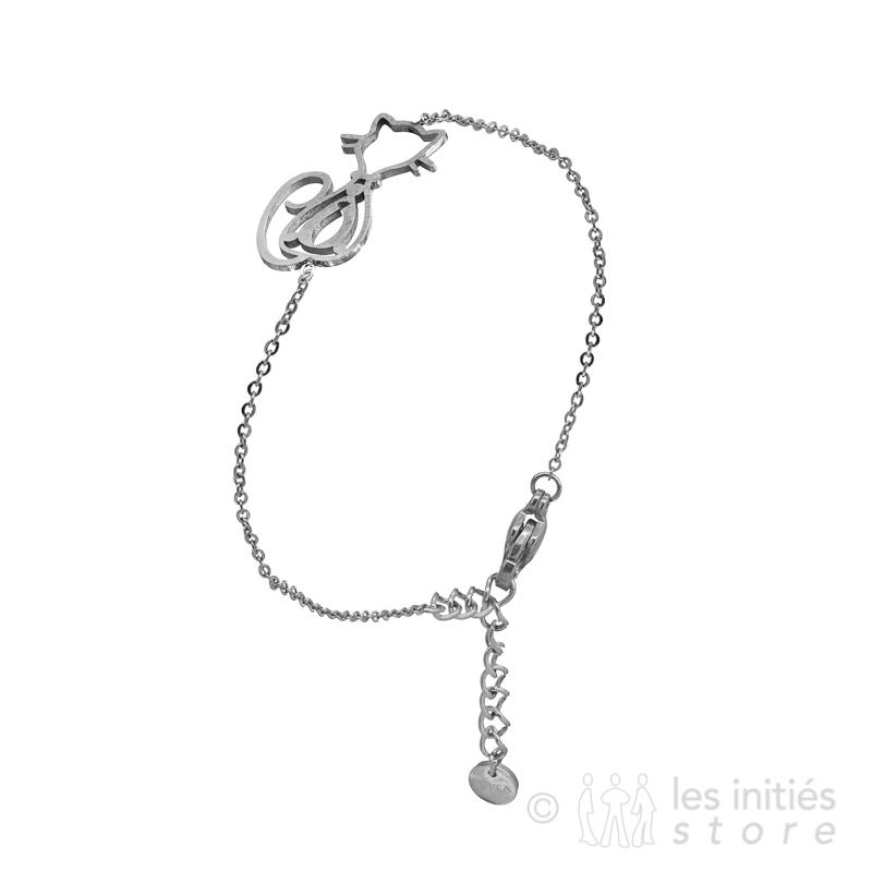 cute cat bracelet silver