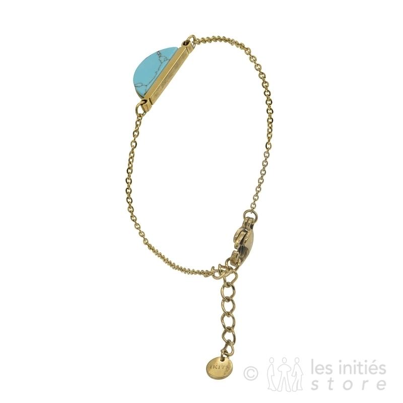 Bracelet pierre turquoise et or