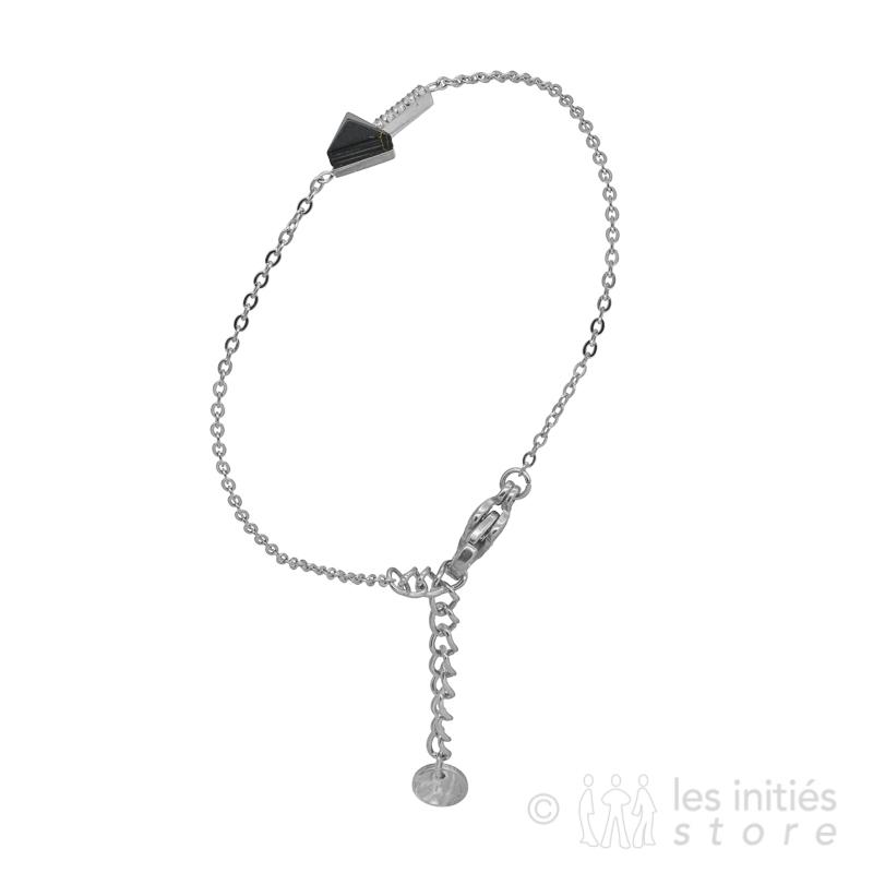 Bracelet flèche pierre noire acier