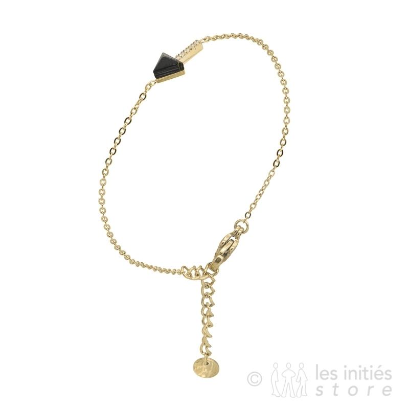 black stone arrow bracelet gold
