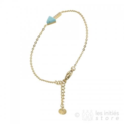 Idée de cadeau pour femme Bracelet pierre turquoise et or