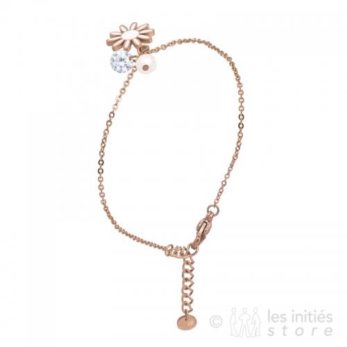 bracelet fleur rosé