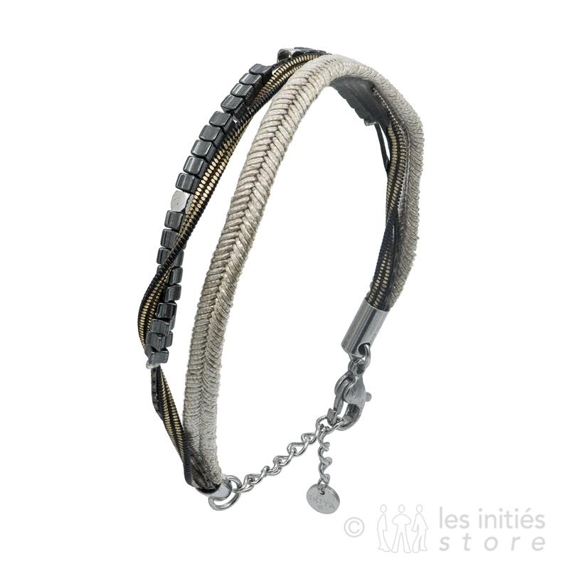 bracelet pierres ethniques grises