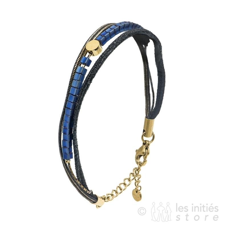 bracelet pierres ethniques bleues et dorées