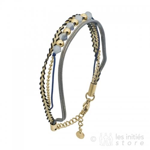 bracelet plusieurs rangs gris