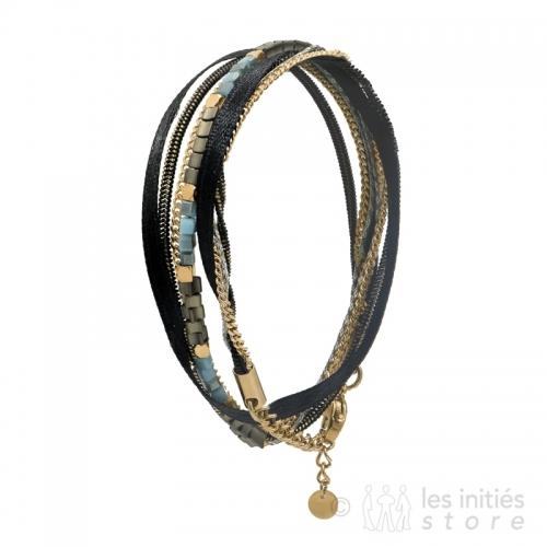 bracelet plusieurs rangs pierres turquoises doré