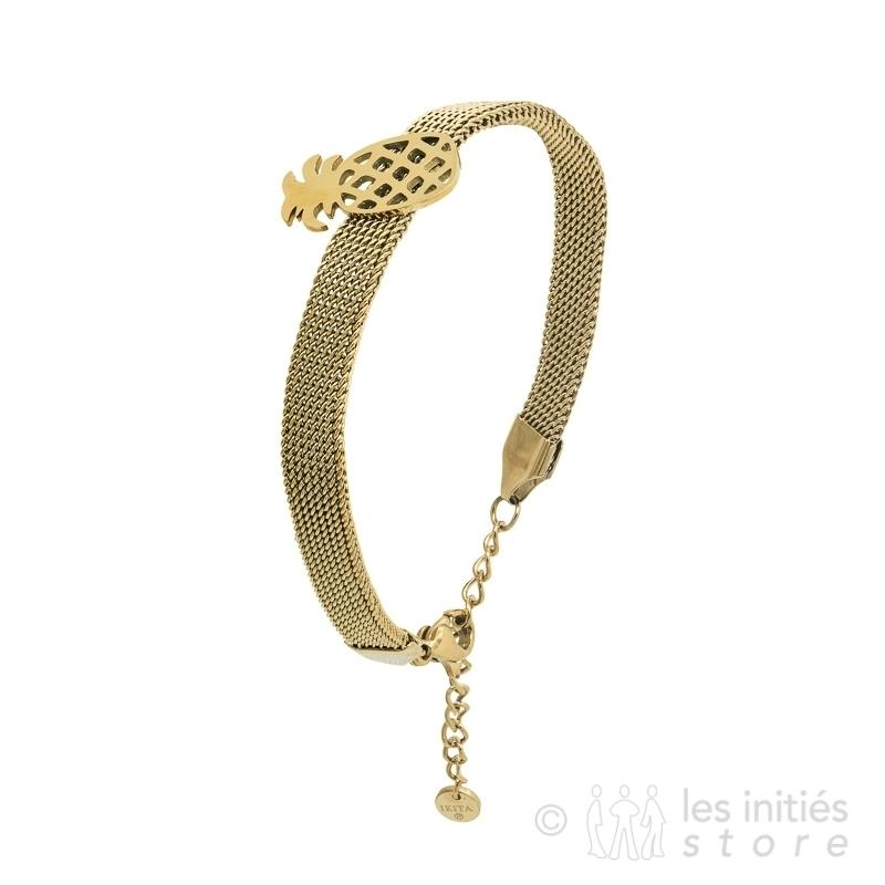 Bracelet ananas tressé doré