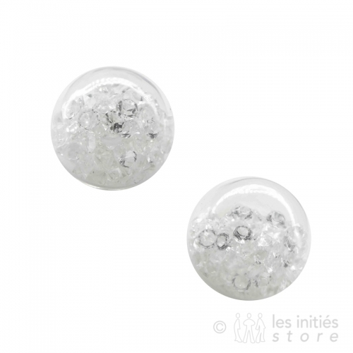 crystal earrings white