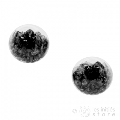 gemstone earrings black
