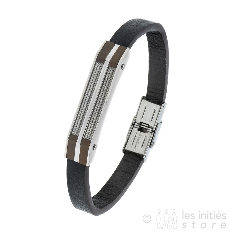 brown leather and steel bracelet