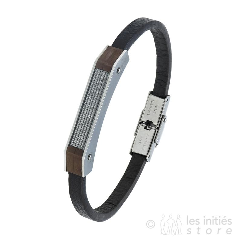 Bracelet câbles acier et cuir marron