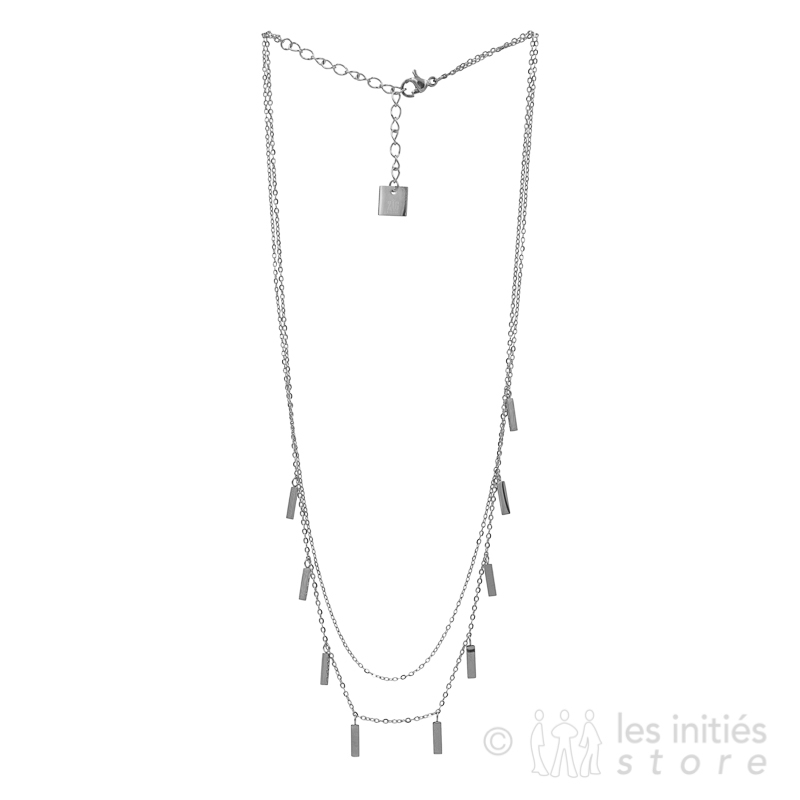 double chain necklace silver